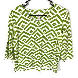 Chicos Green White Geometric Printed Tribal Top M